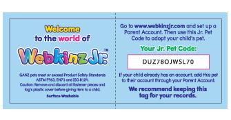 Webkinz Jr. Tag